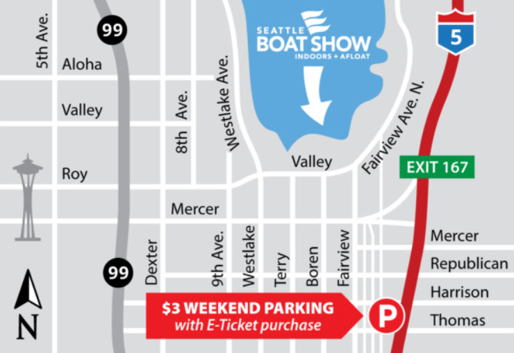 map for parking at seattle boat show